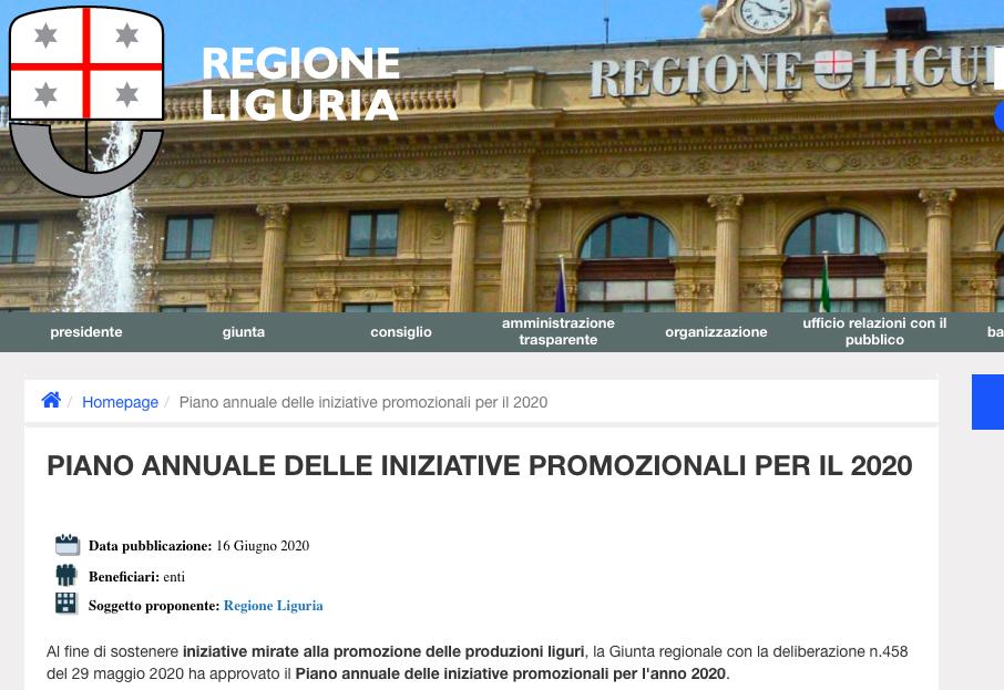 immagine relativa al sito di regione ed il piano