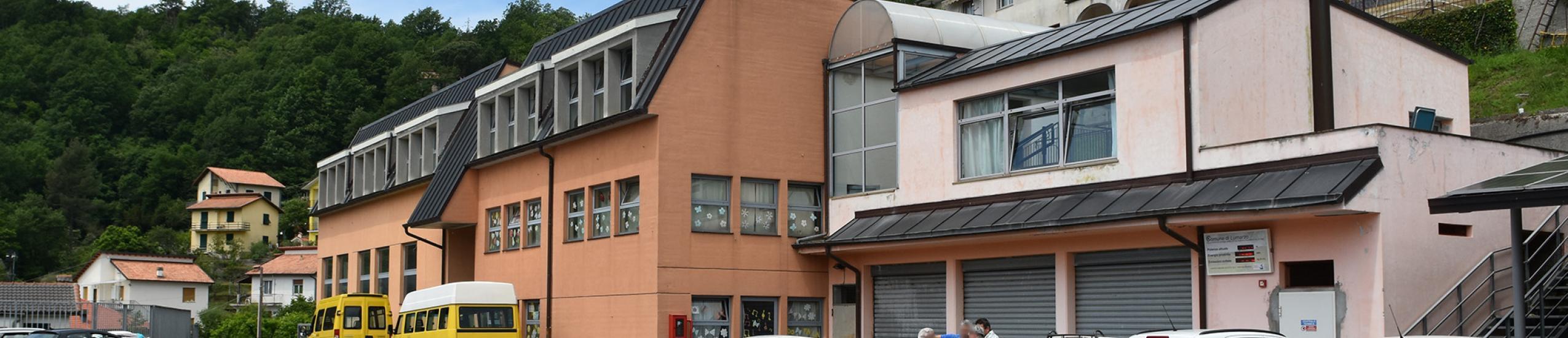 Il parcheggio adiacente all'edificio scolastico